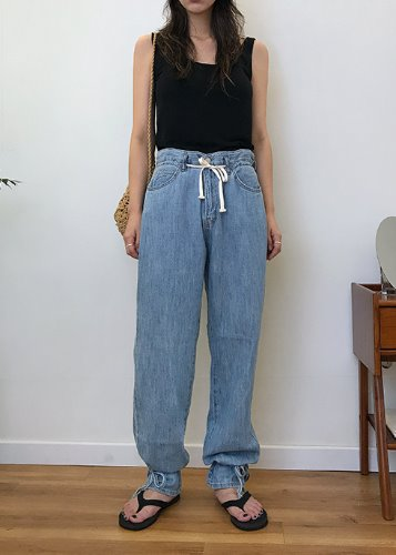 [sale] strap jogger denim pants (2c)