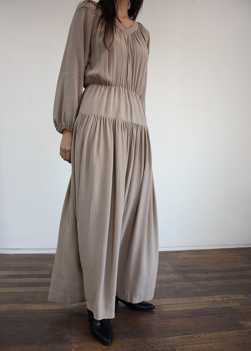[sample sale] v neck shirring maxi ops(2c)