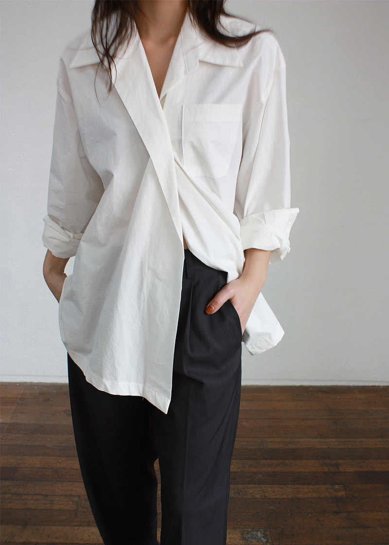 one button cotton shirts (white)