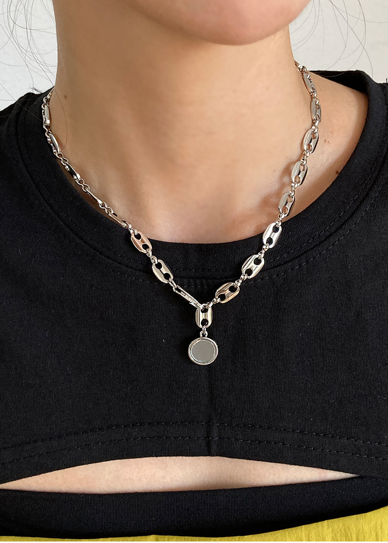 circle mirror chain necklace