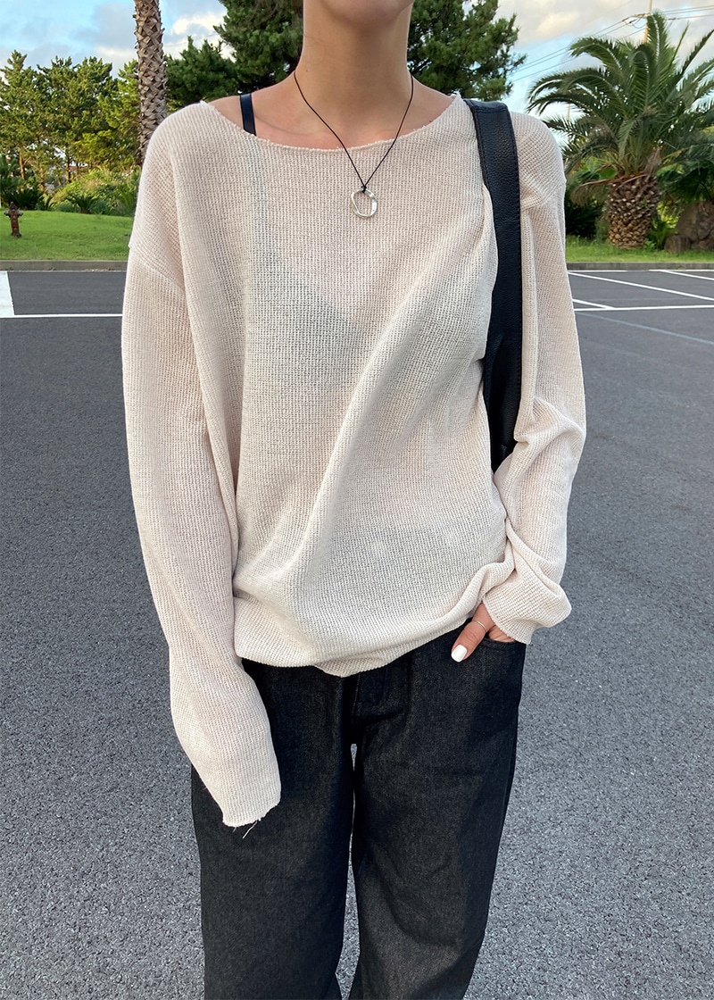 boat neck loose fit knit (2c)