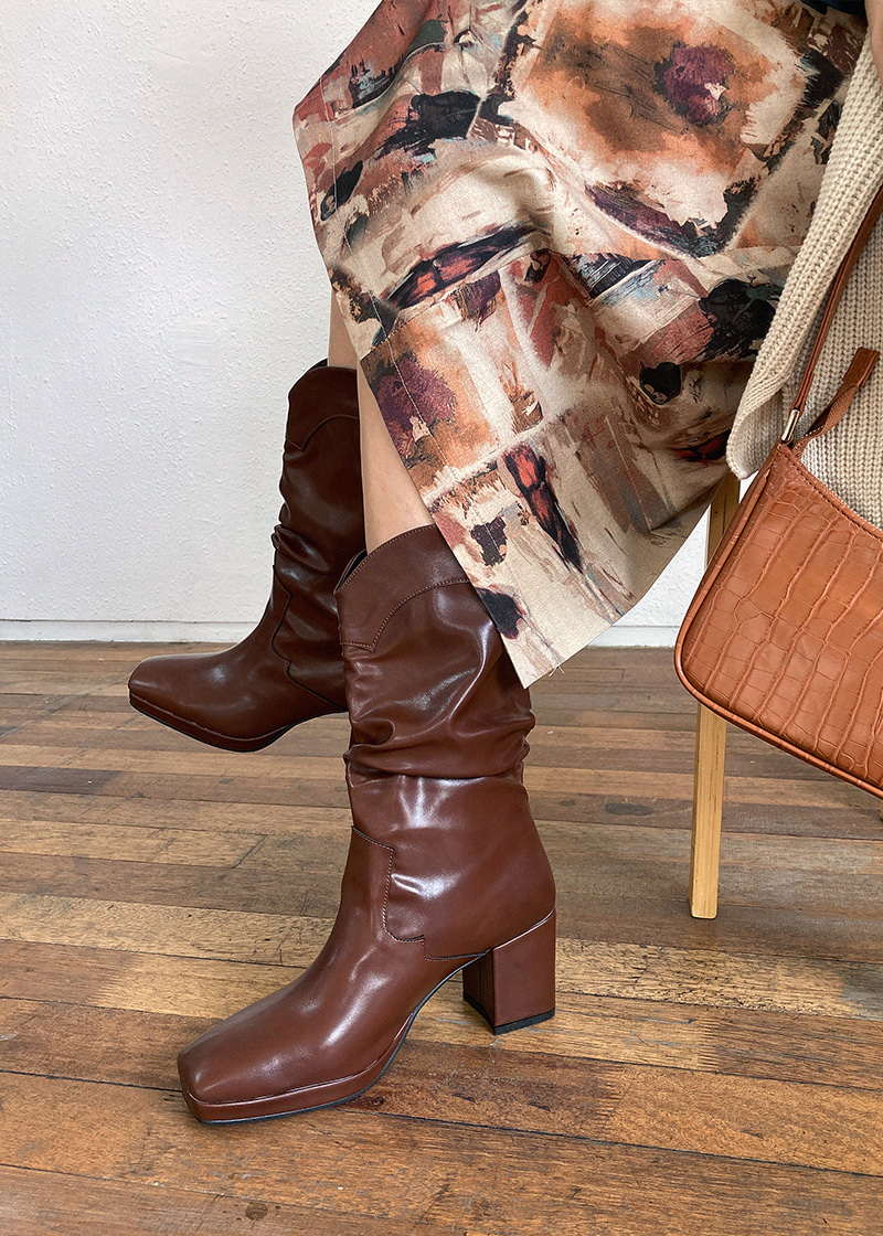 square toe wrinkle boots (30-50)