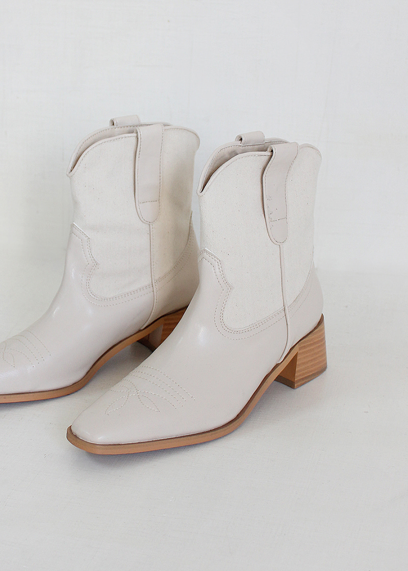 linen pointed stitch western boots (30-50)