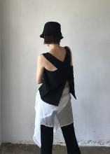 linen cross slit vest (2c)