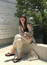 two button hem linen pants (beige)