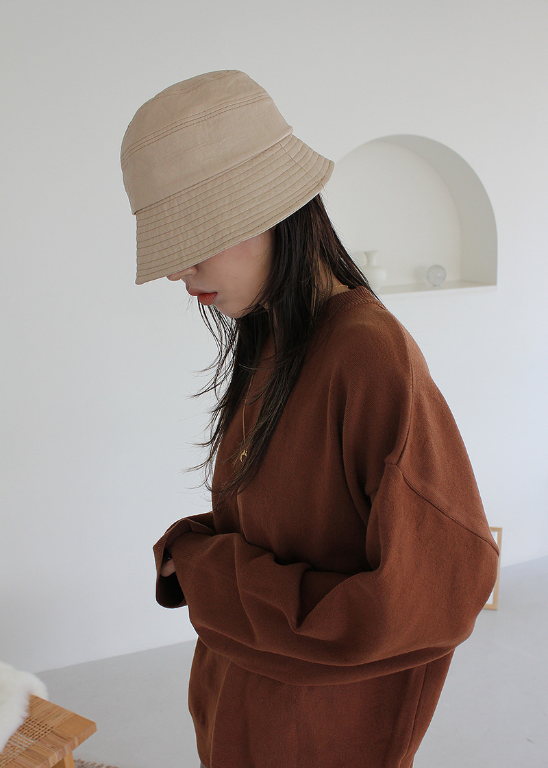 leather stitch bucket hat