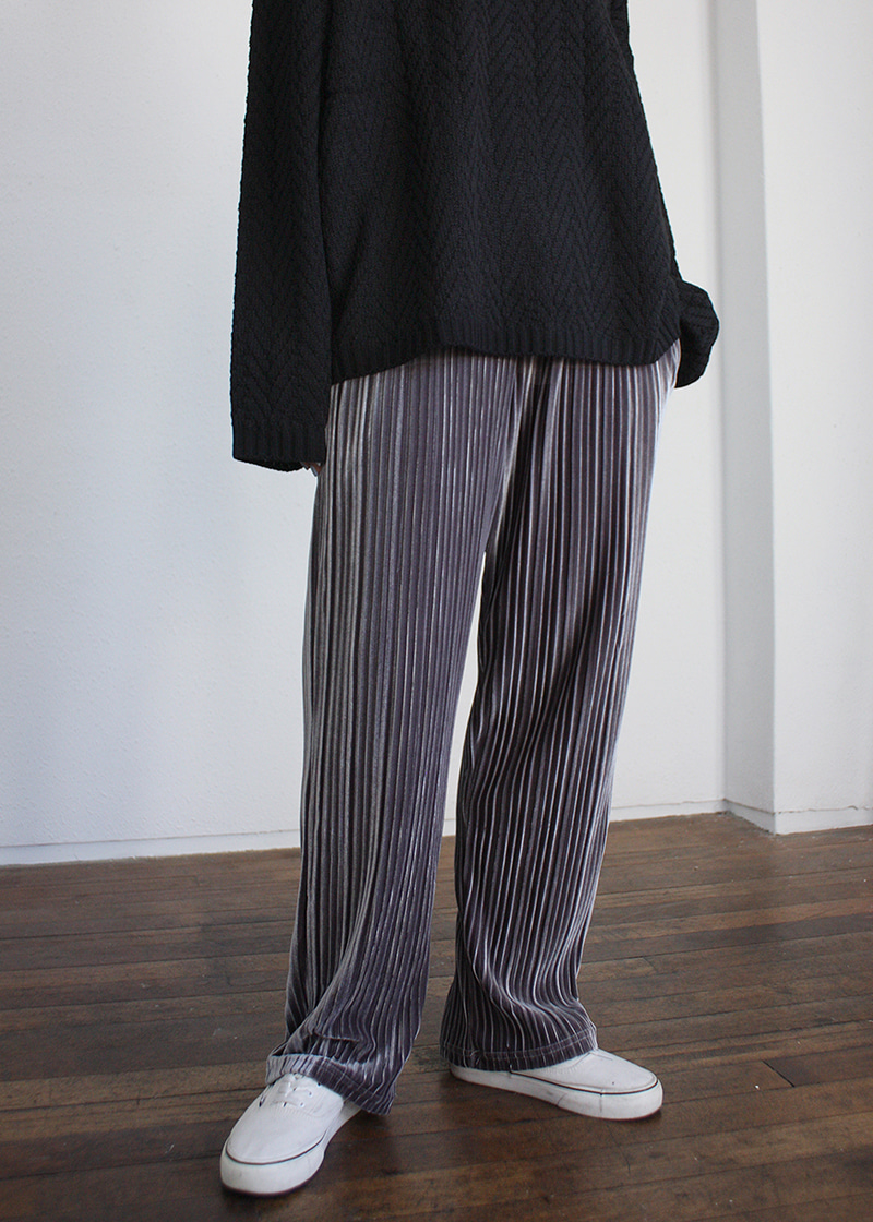 [sale] velvet pleats banding pants (3c)