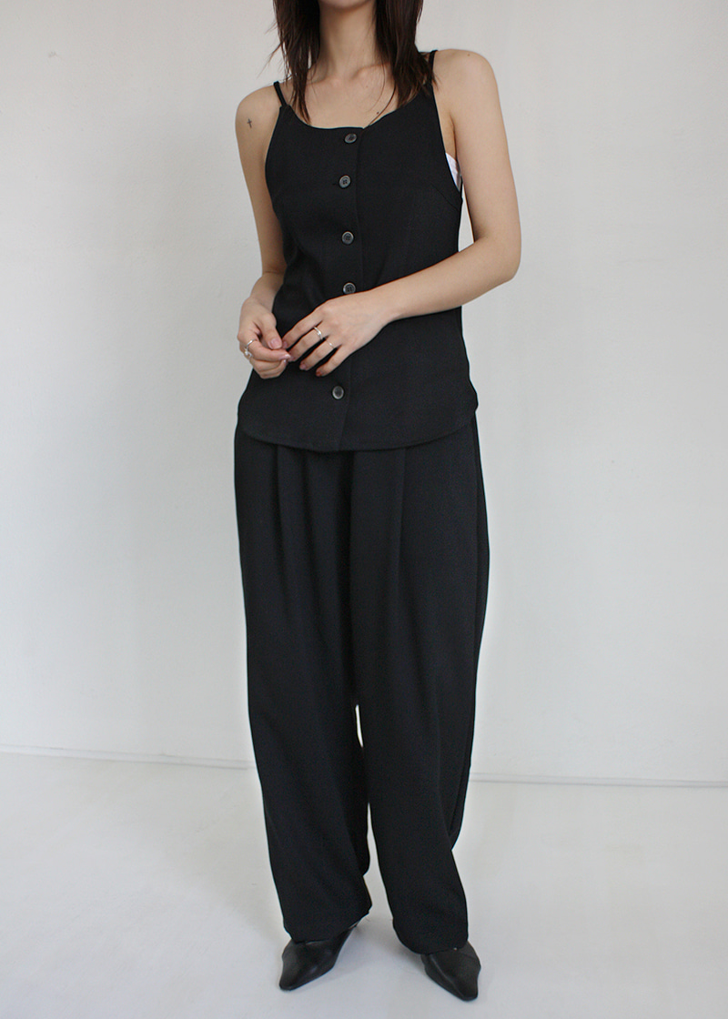 slim button vest (black)