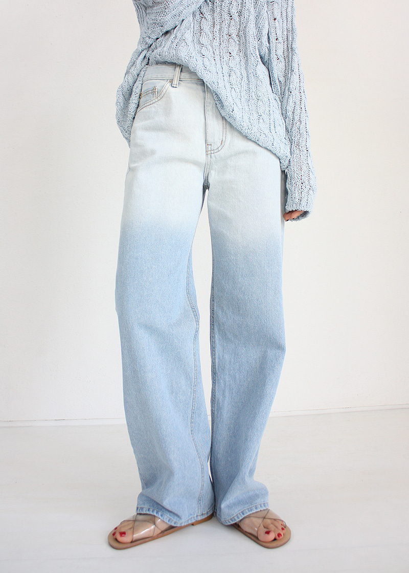 gradation wide denim pants (s/m)