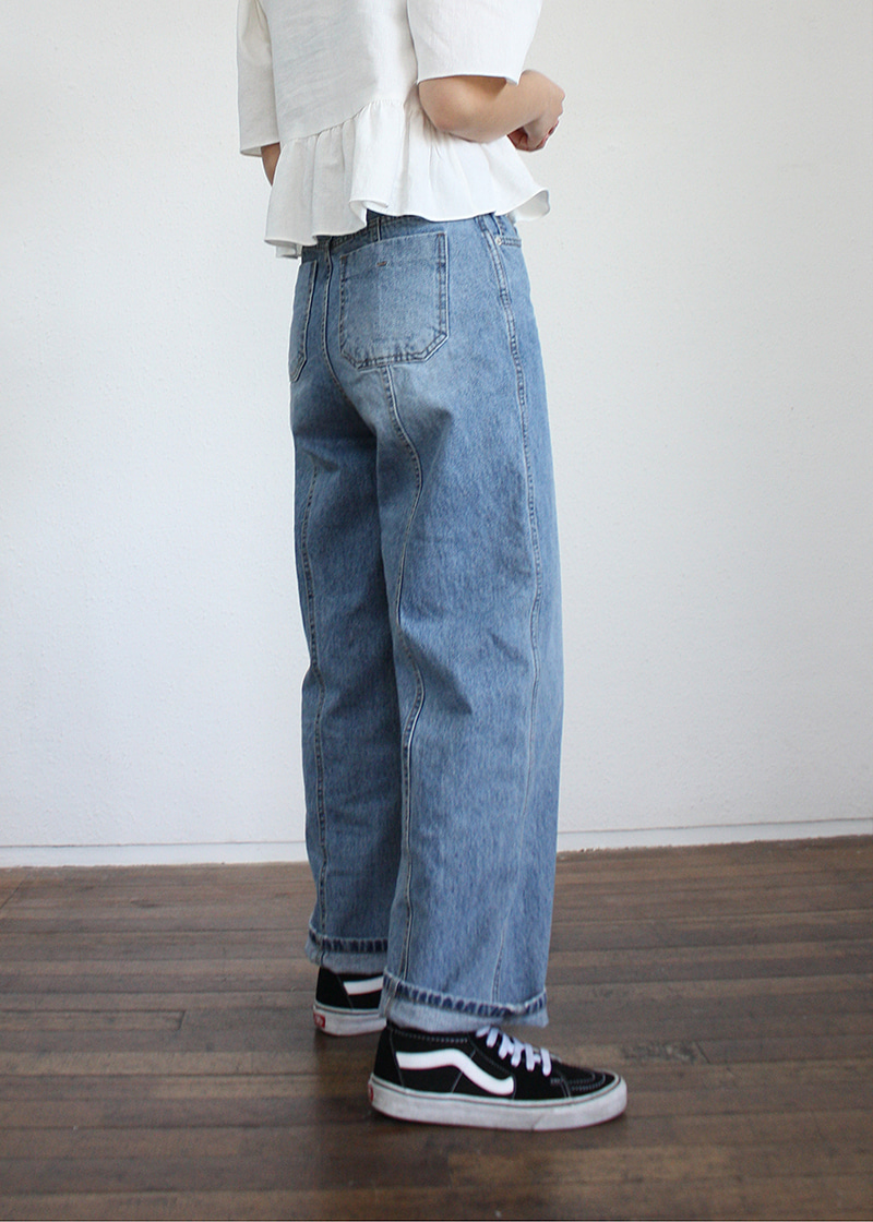back line denim pants (s,m)