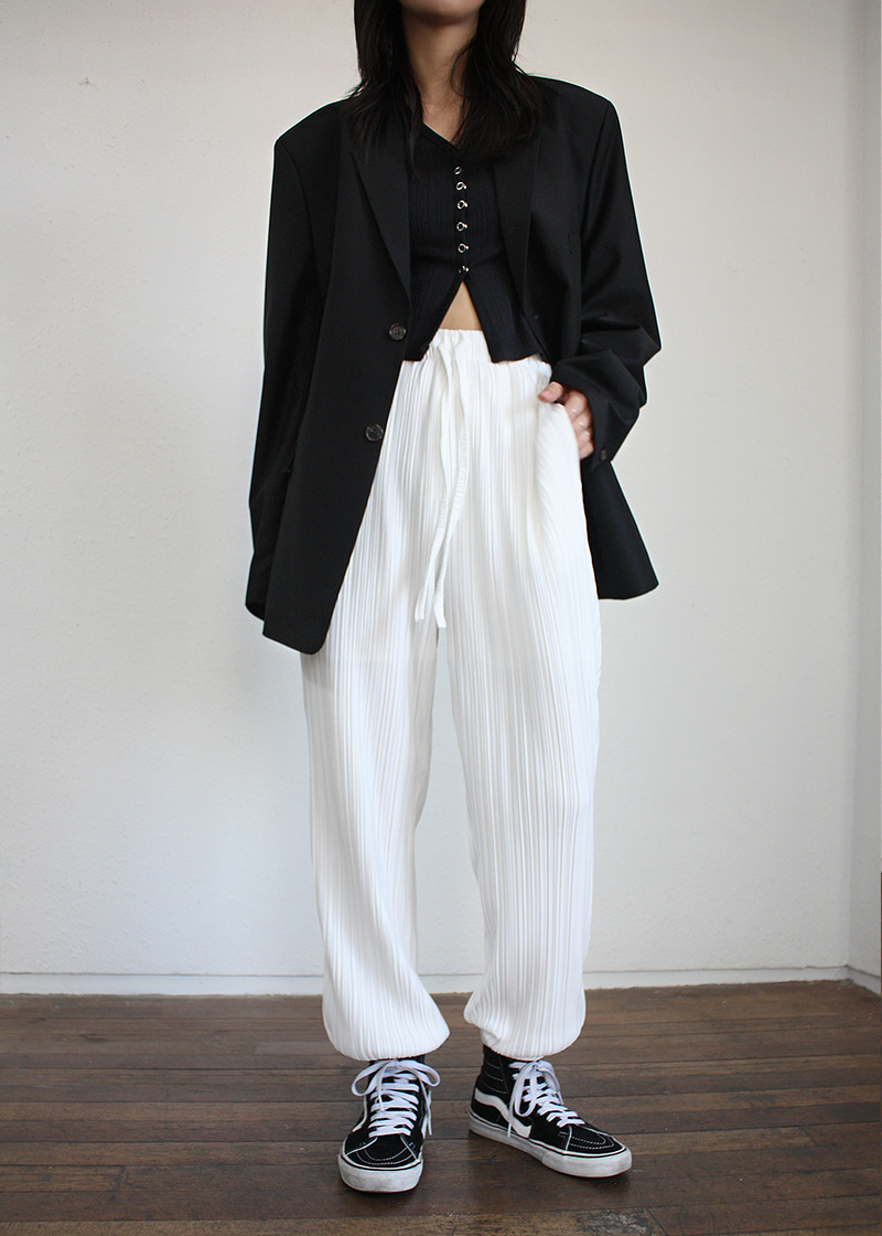 pleats wave jogger pants (3c)