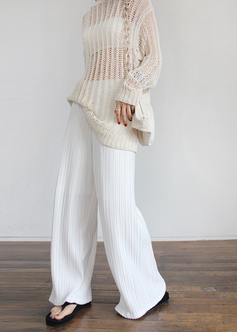 pleats wave pants (white)