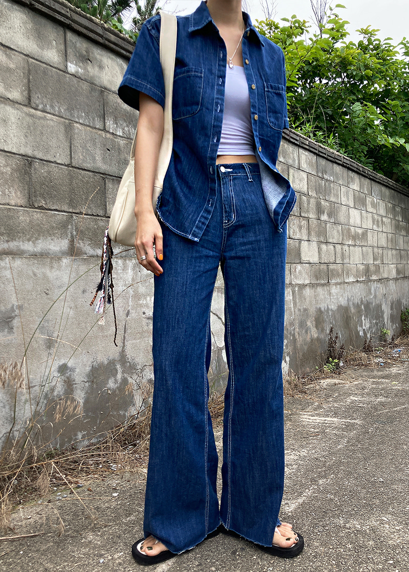 [m 당일출고가능] stitch wide denim pants (s/m)