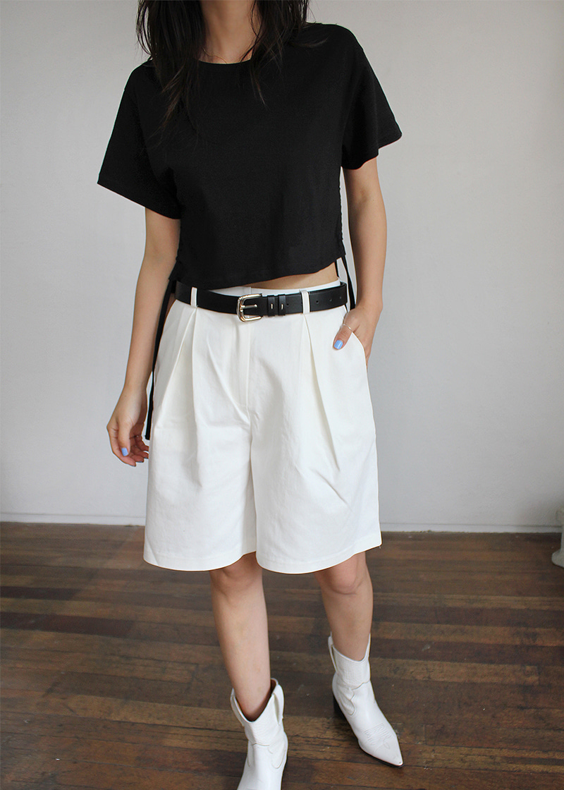 inverted pleat bermuda pants (3c)