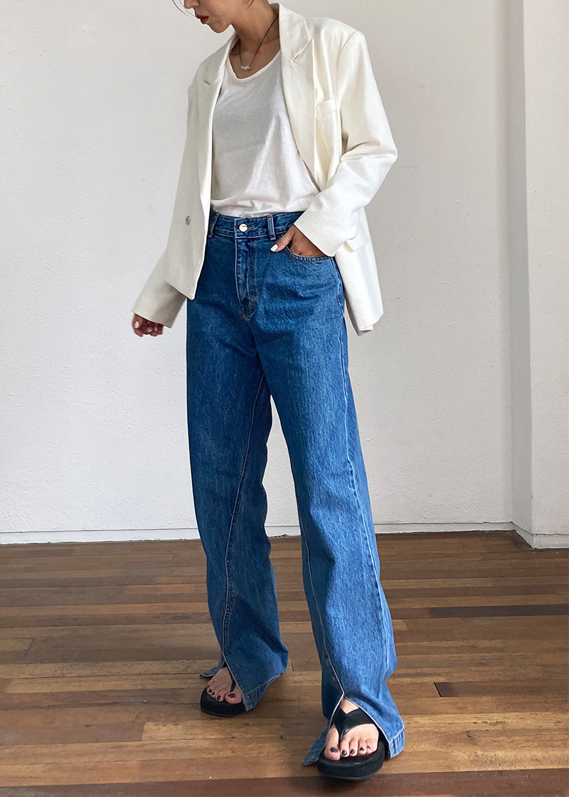 front slit denim pants