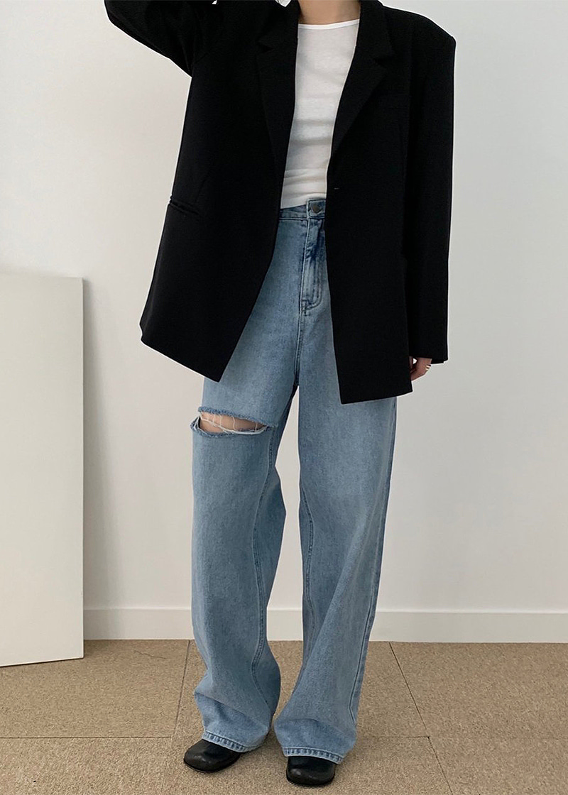 one slit long length jeans (s,m)