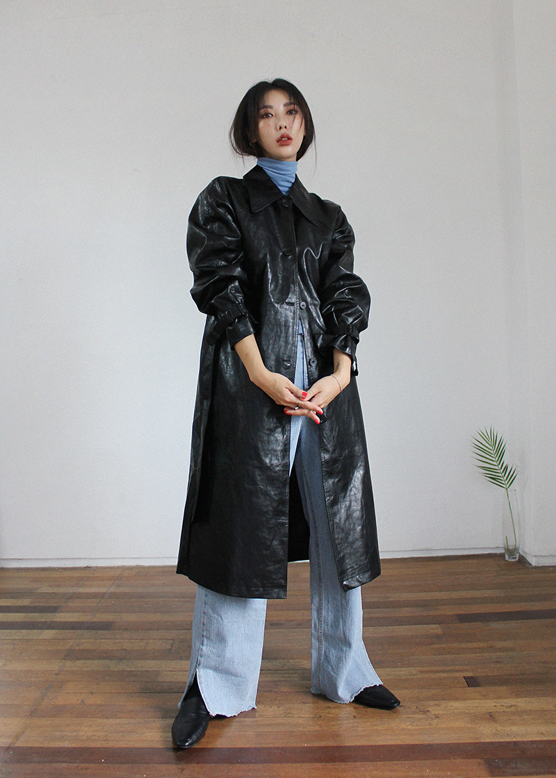 leather long trench coat (2c)