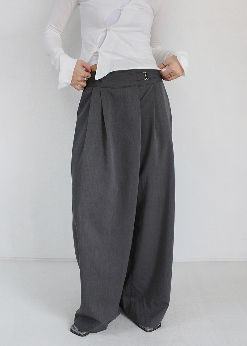 buckle banding wide pants (2c)