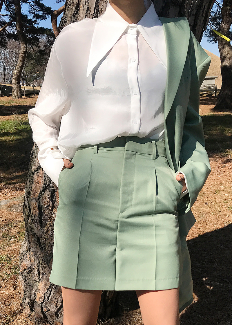[sale] long collar silky shirts (white)