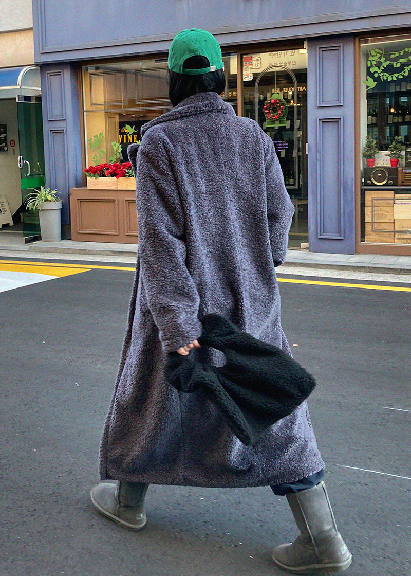 [sale] teddy bear long coat (black)
