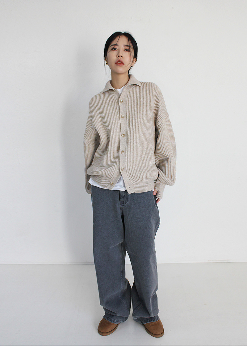 real wide denim pants (4c-gray)